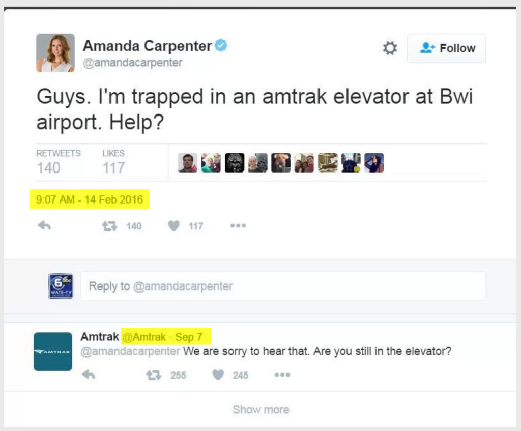 Woman trapped in Amtrak elevator