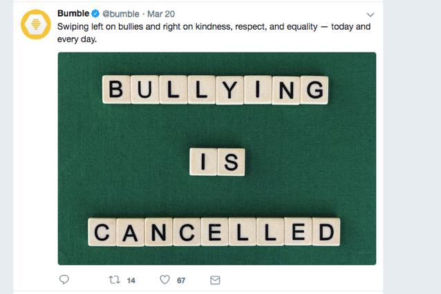 Bumble anti-bullying social post