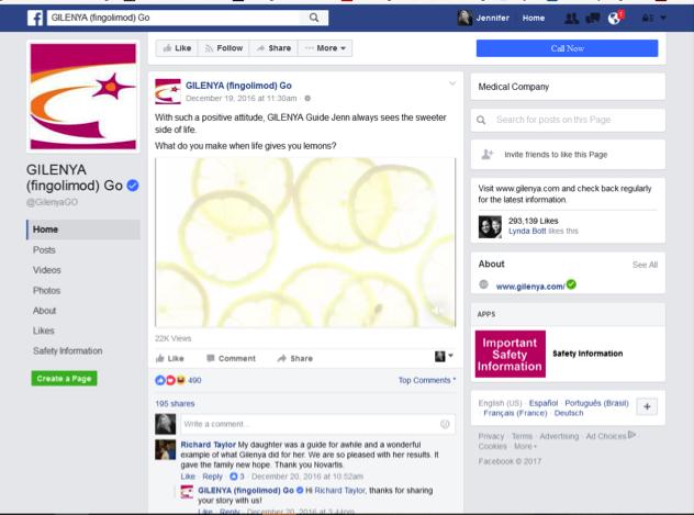 On Facebook Gilenya is an effective pharmaceutical social media user