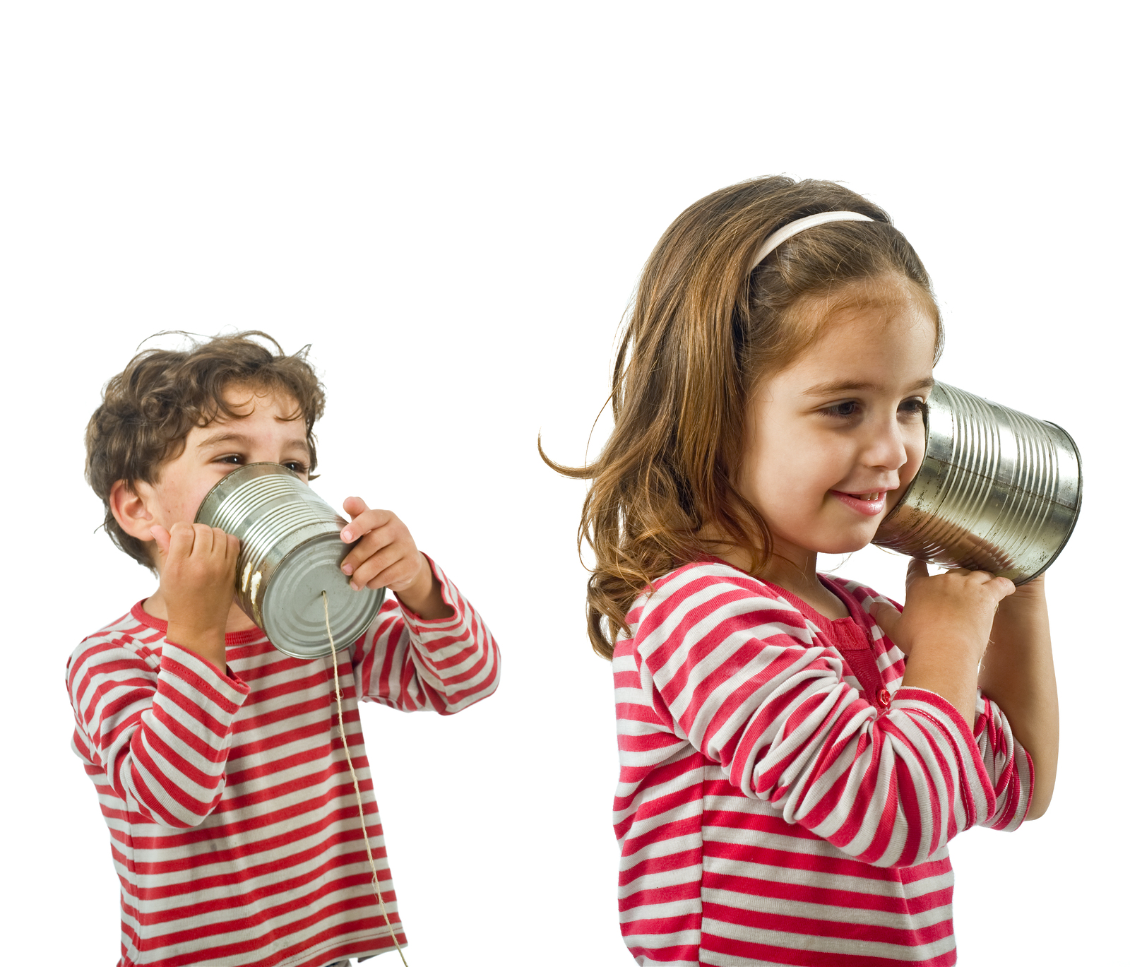 Two Kids Talking On A Tin Phone